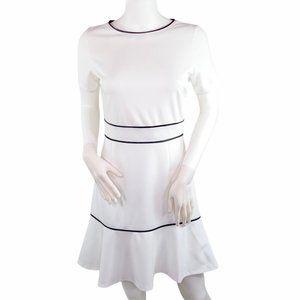 love...ady White Black Trim Short Sleeve Dress M